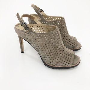Via Spiga Pep Toe Perforated Tan Sling Back Heels